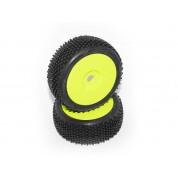 HB BLOCK Mounted Tire (Soft/Yellow Wheel/1/8 Buggy/2pcs)  HB67616
